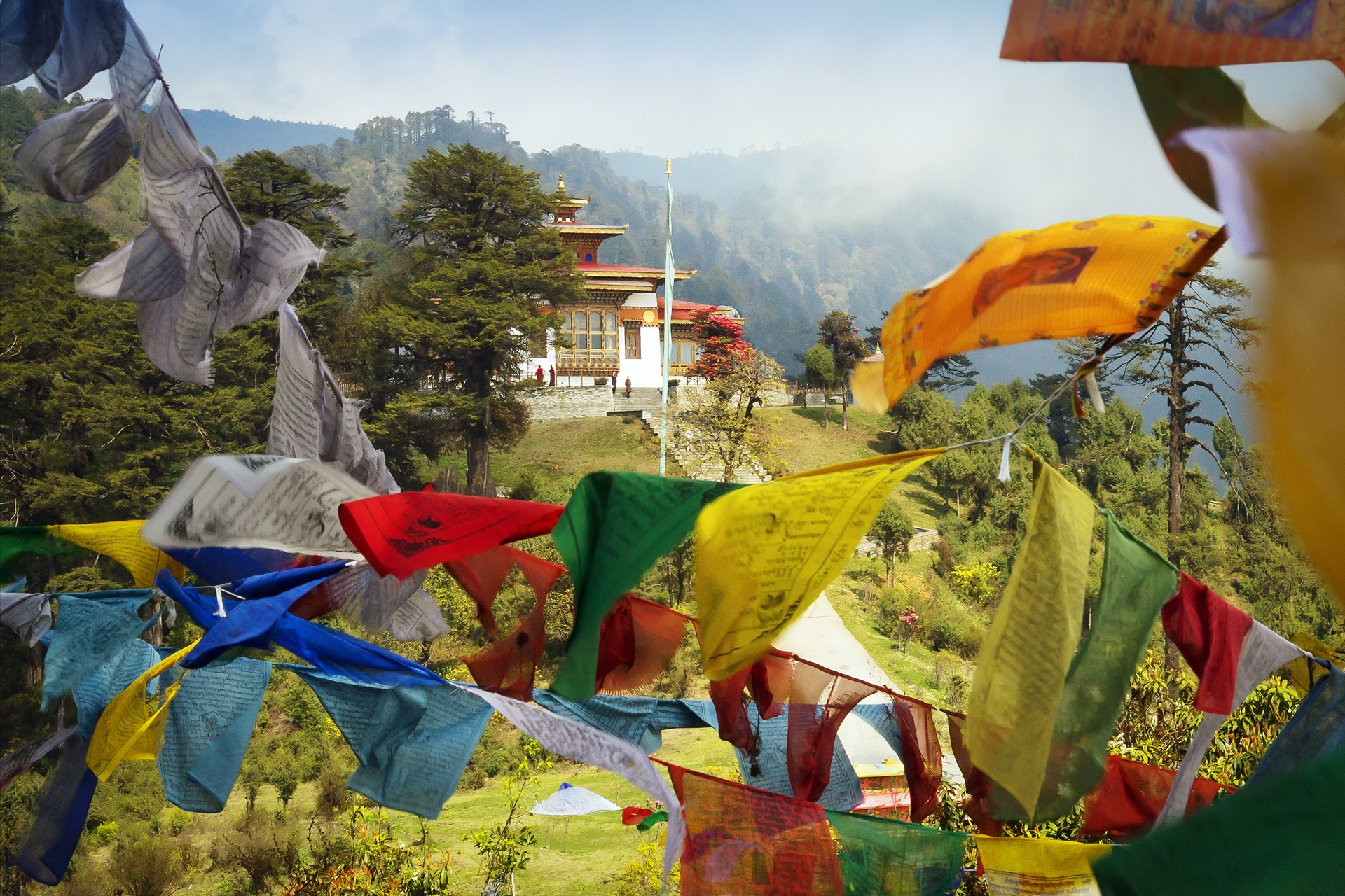 Prayer flags at Thimpu Bhutan