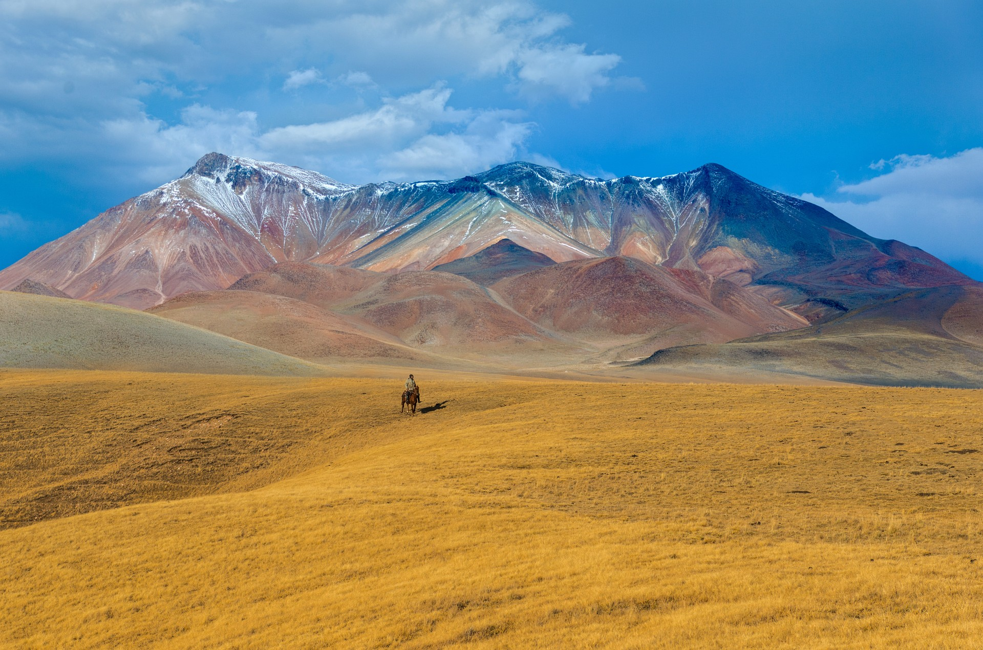 Nomad riding on Kazakhstan steppe