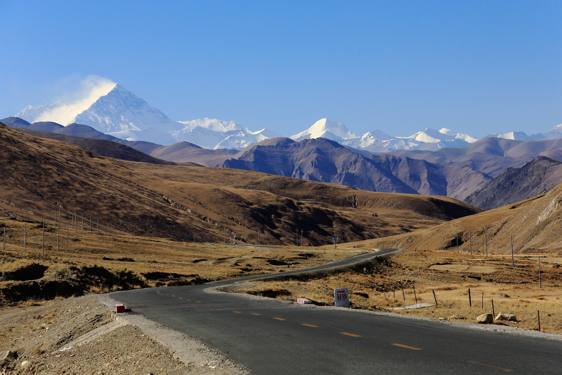 The 500 mile Friendship Highway between Nepal and Tibet