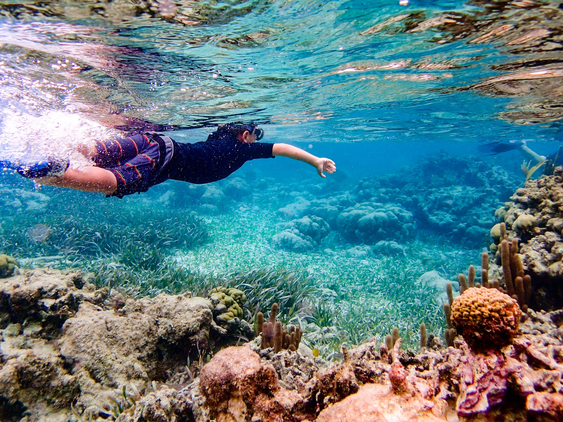Boy snorkelling in Belize