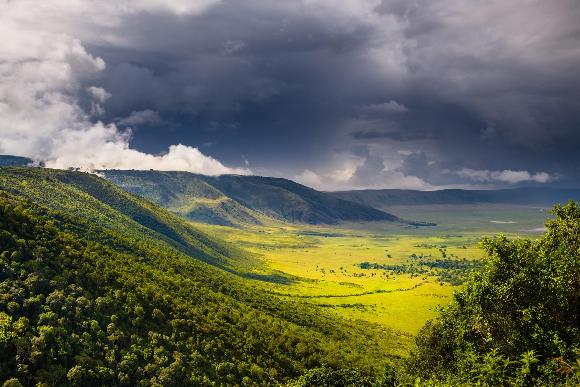 Rain clouds gather over the Nukuru Crater in Kenya
