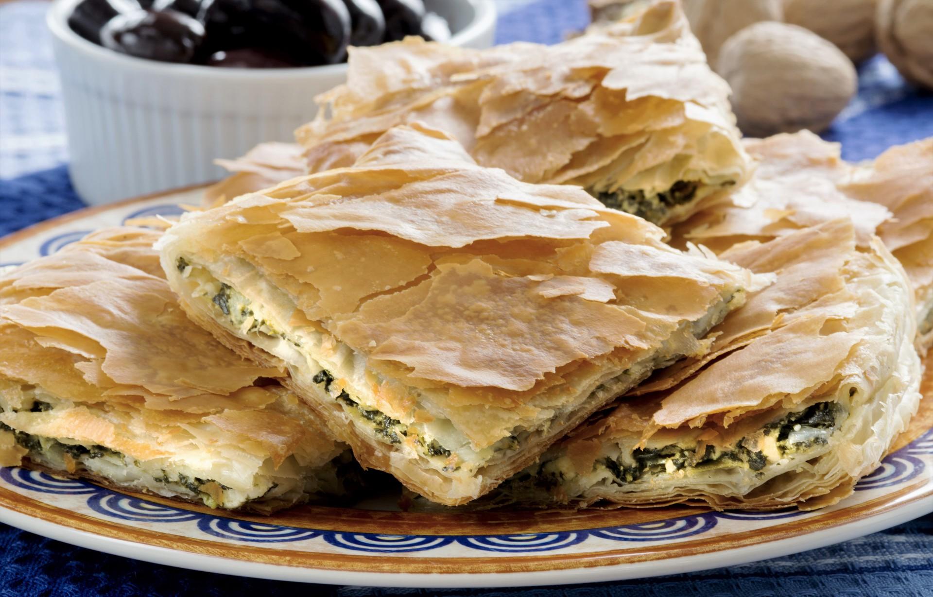 Spinach feta pie greece