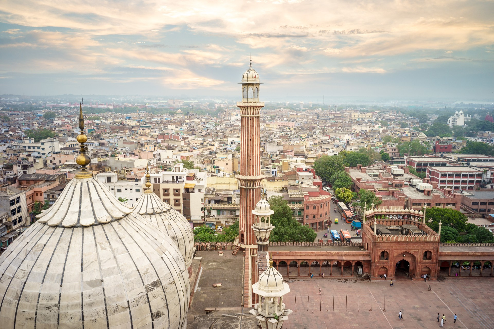 Aerial view of Old Delhi from the roof of Jama Masjid