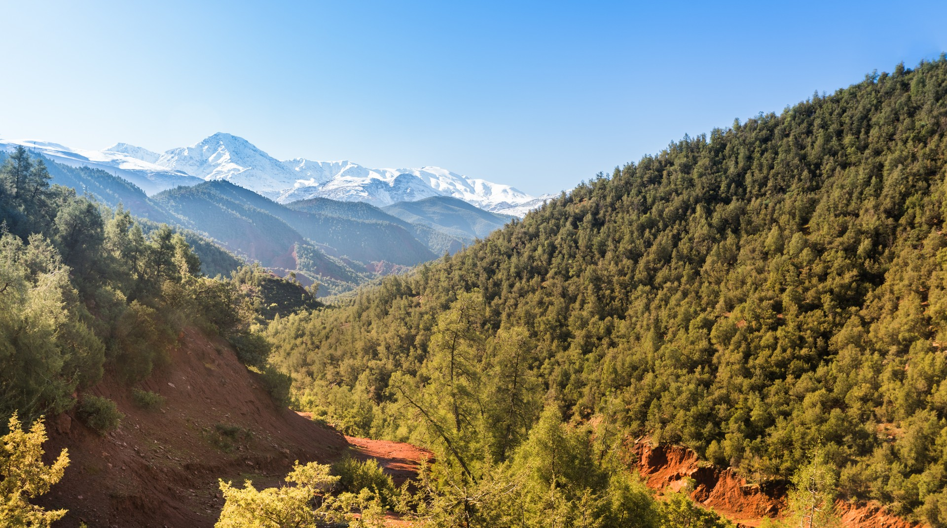 Snow-capped mountains in the Ourika Valley in Morocco's High Atlas