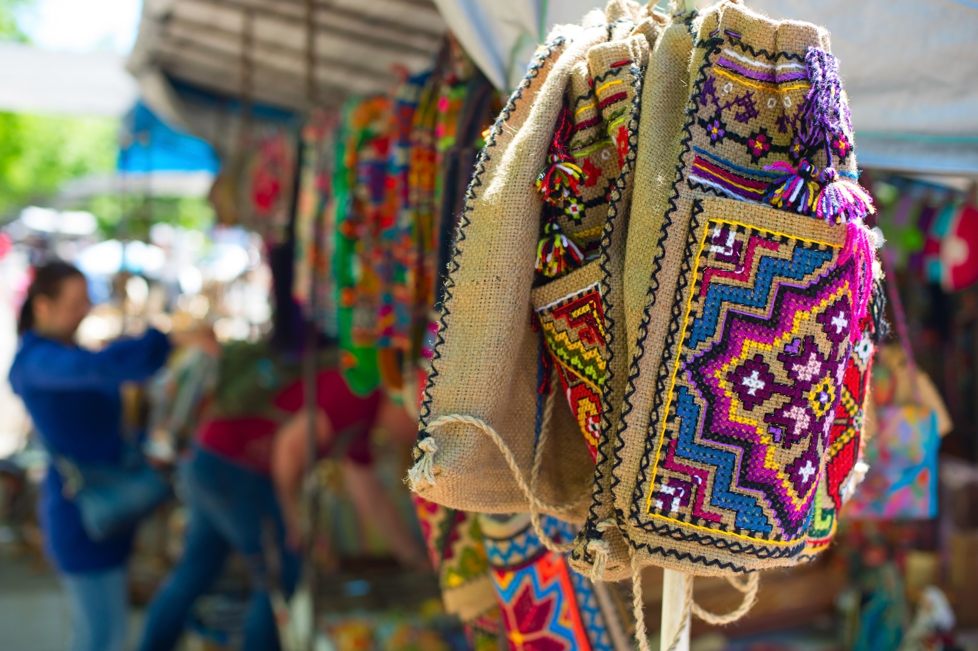 Bags for sale at the Dry Bridge Flea Market in Tbilisi