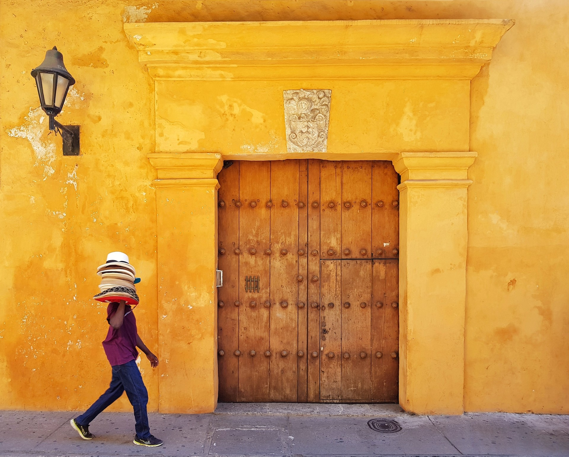 Hat seller in Cartagena, Colombia