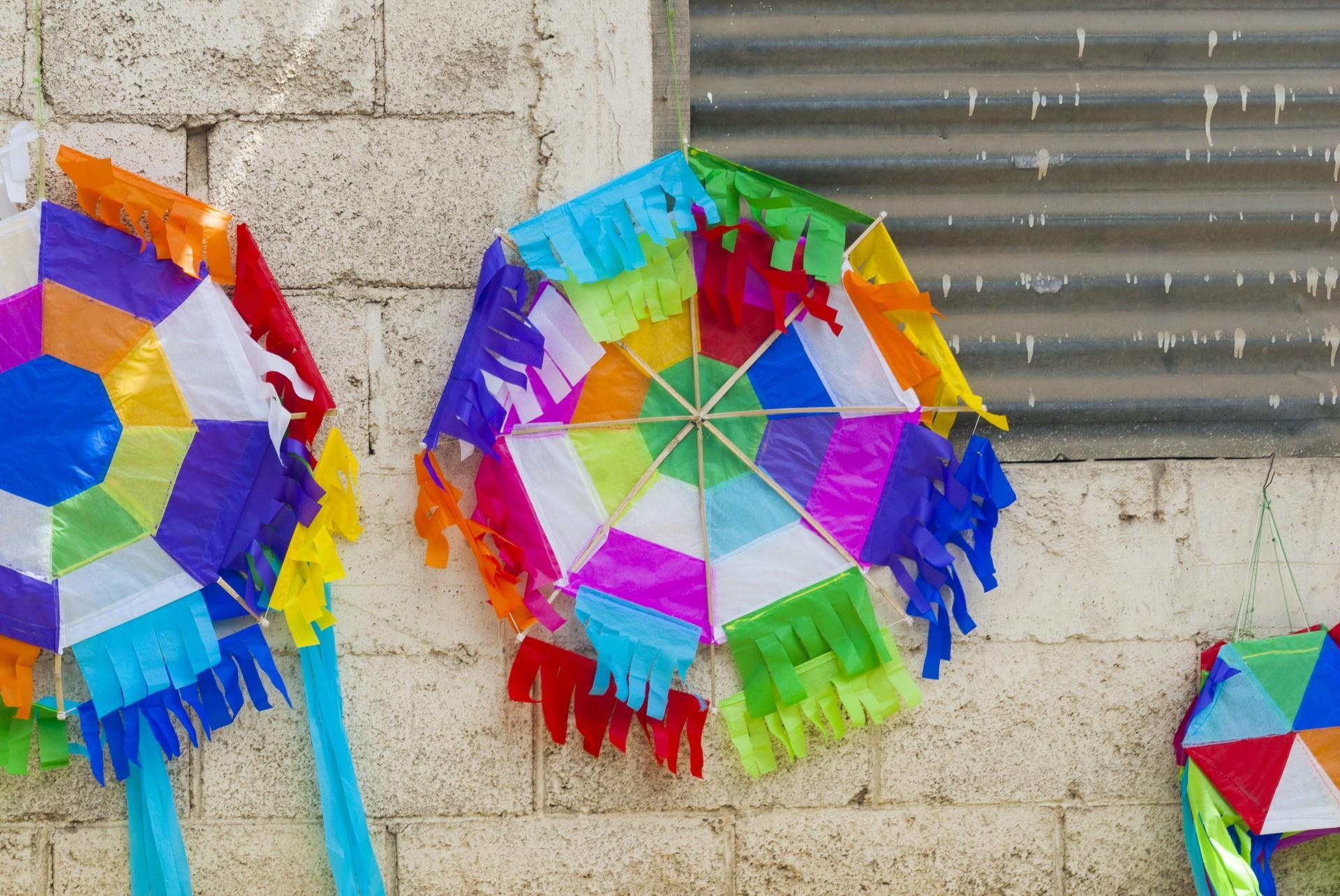 Kites lining the walls in Guatemala