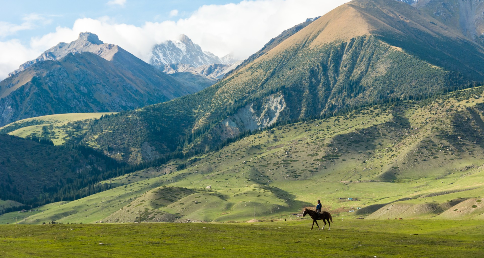 A lone horserider among the Tien Shan mountain range in Kyrgyzstan