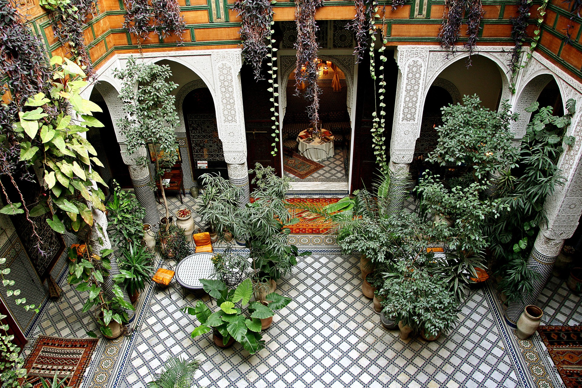 The ornate interior of a Moroccan home with beautiful tiles