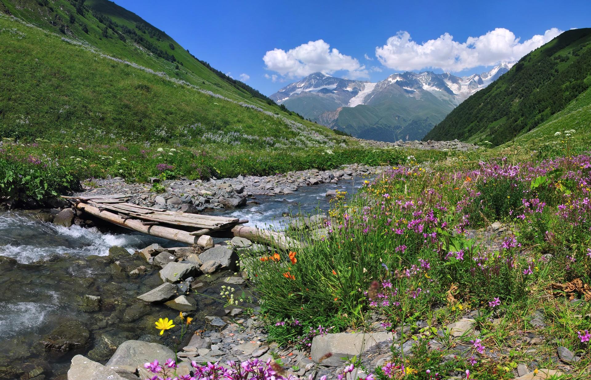 A stream running through Shovi in the Svaneti region of Georgia