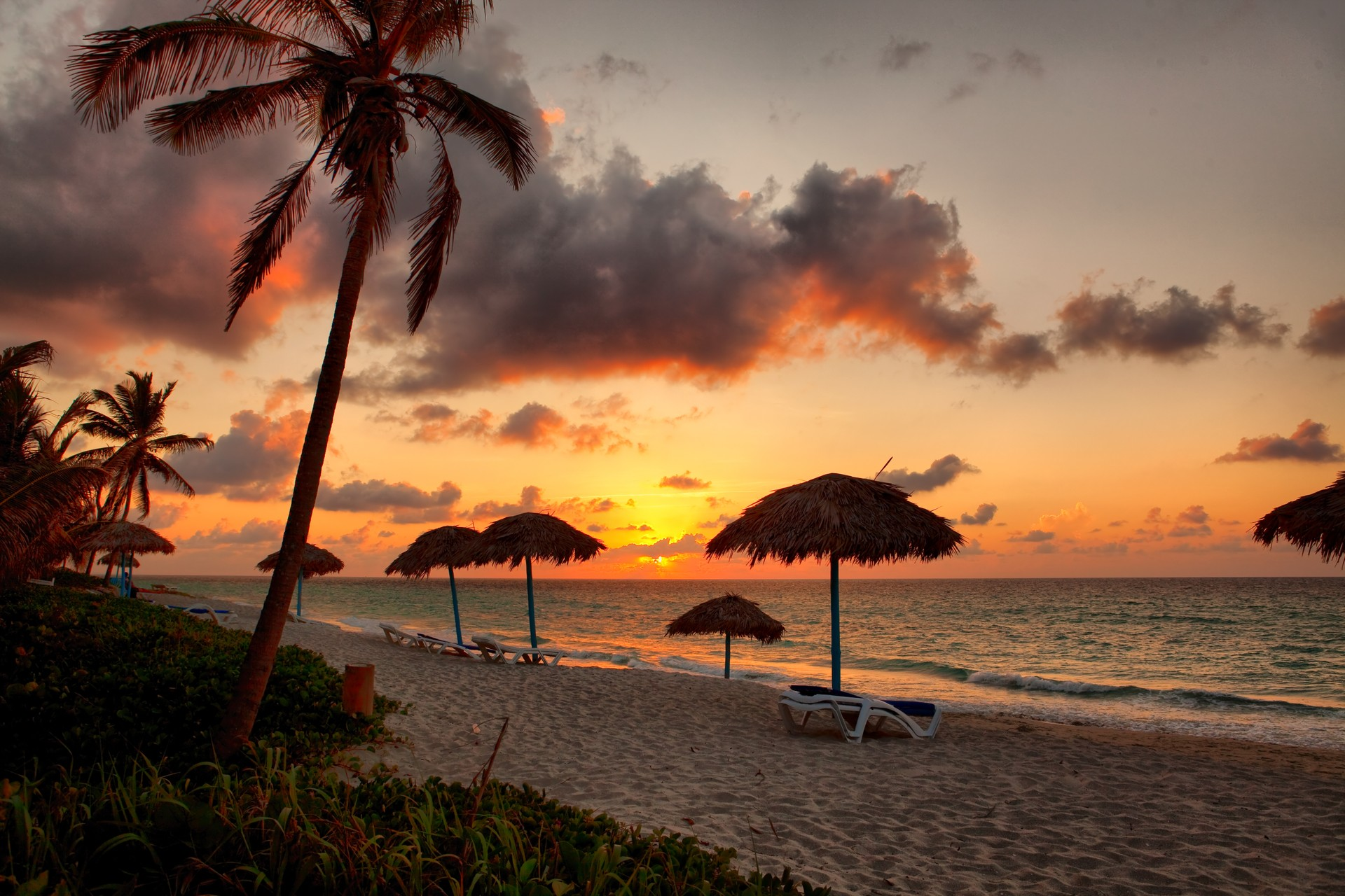 A beach at sunset in Varadero, Cuba