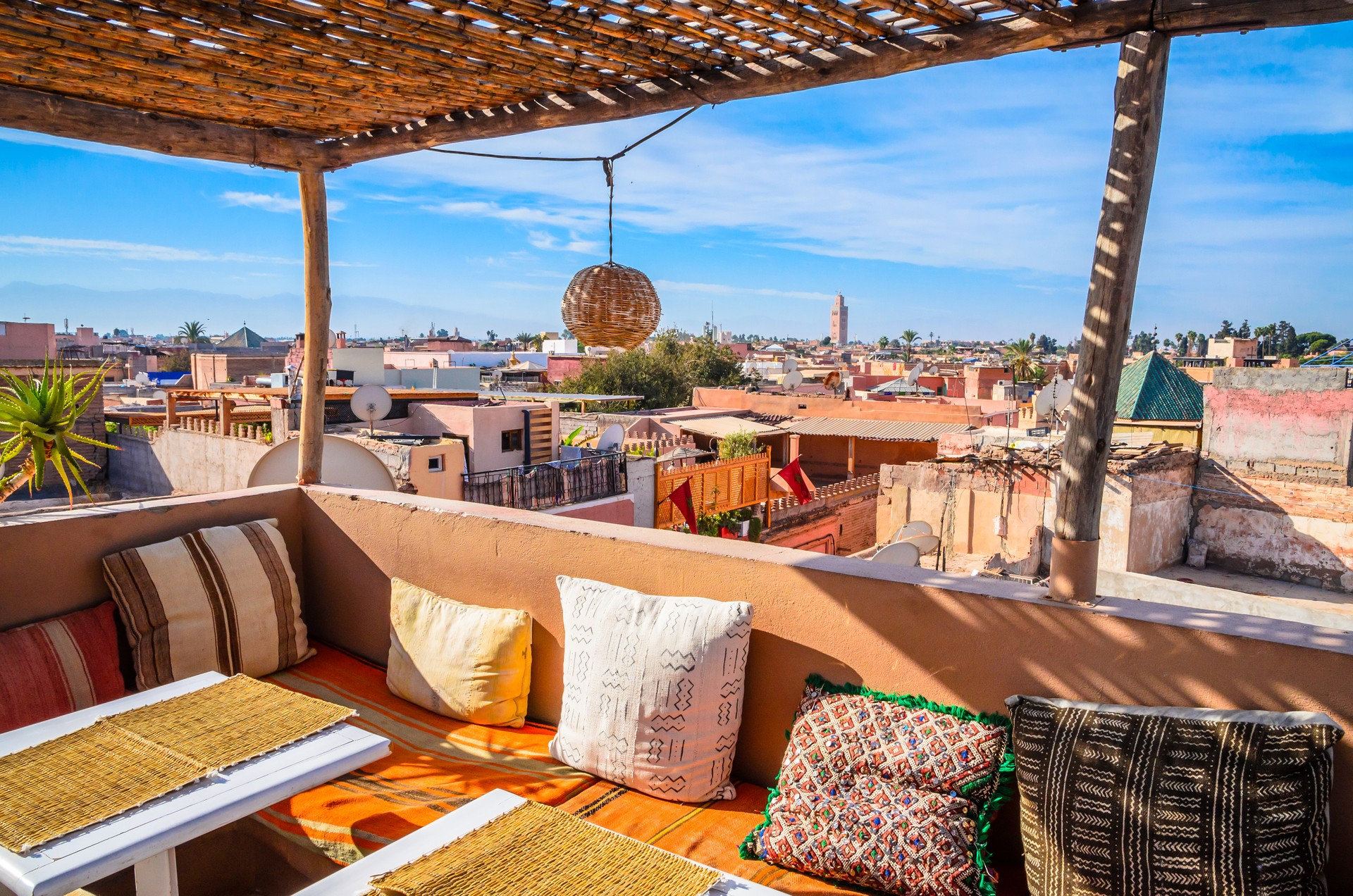 A panoramic view across Marrakech from a traditional Moroccan cafe