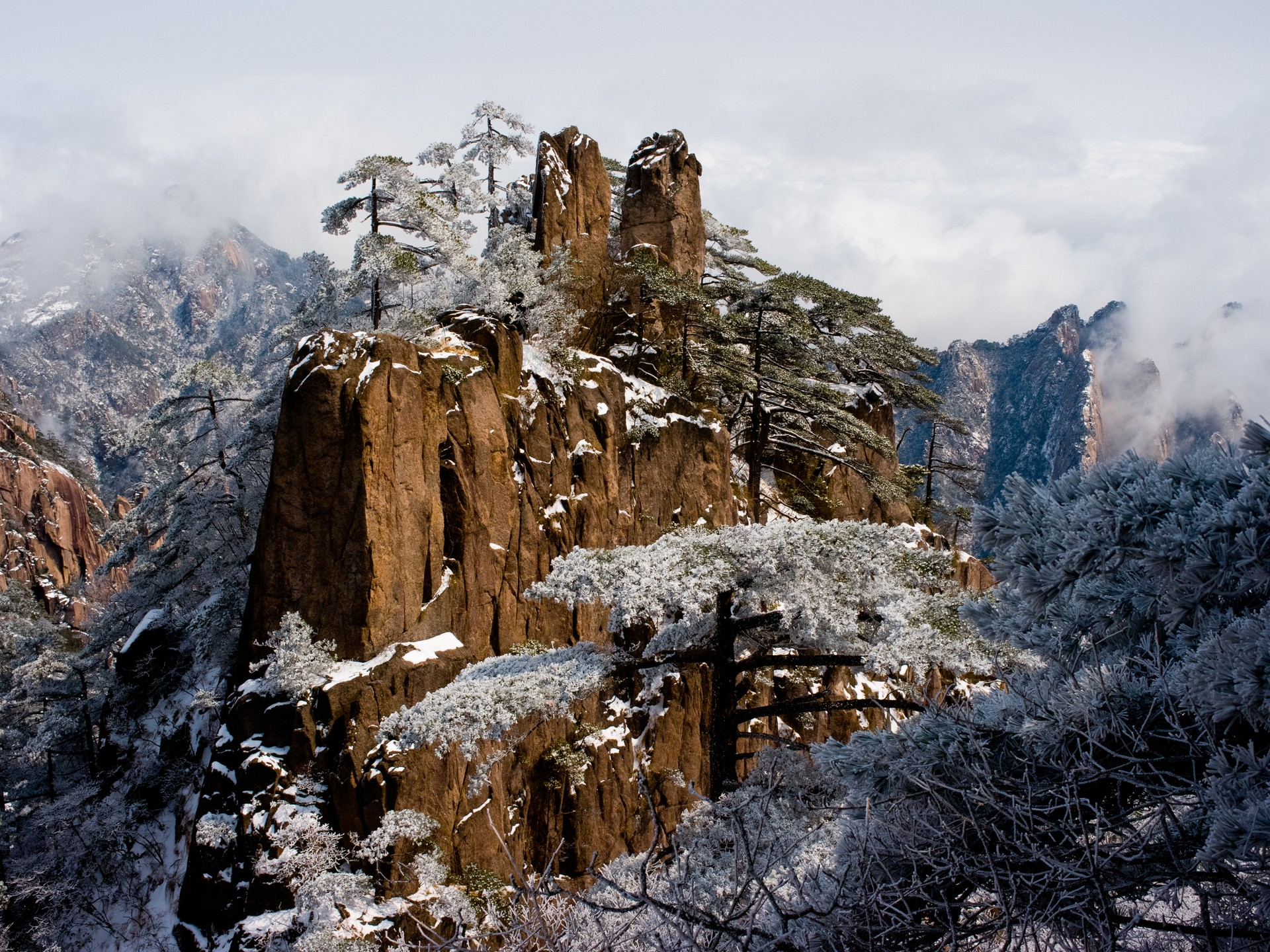 Huangshan mountains in winter in China