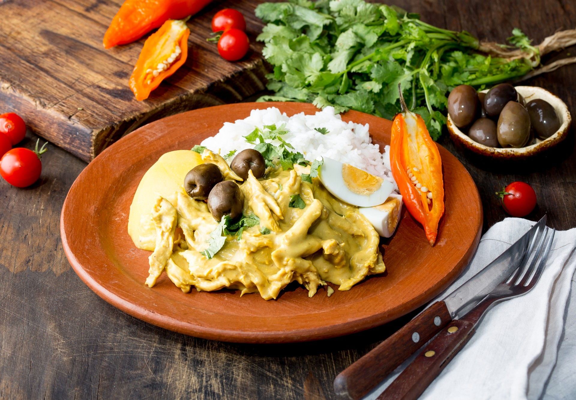 Aji de gallina is a creamy Peruvian stew