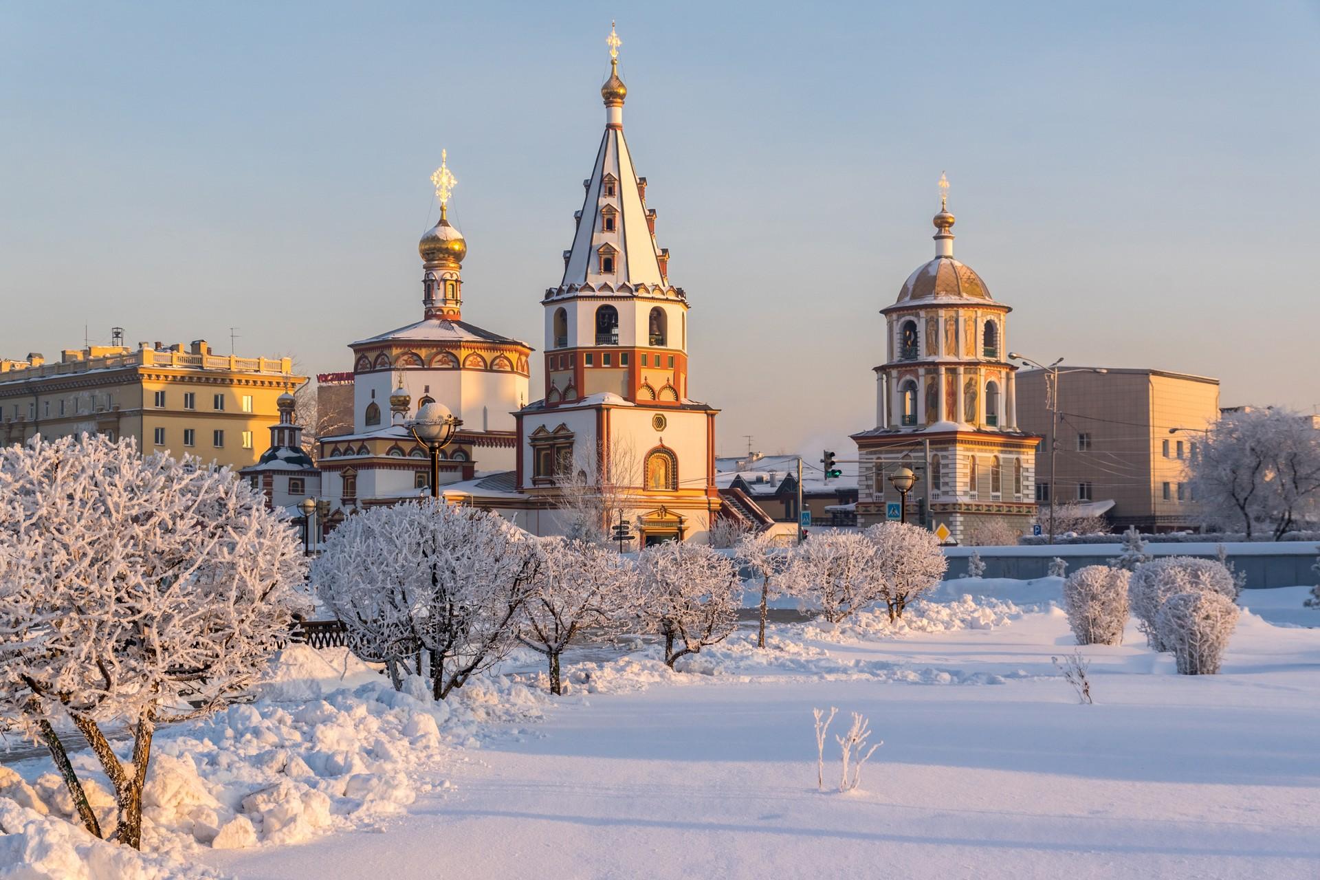 Cathedral in Irkutsk in Russian winter