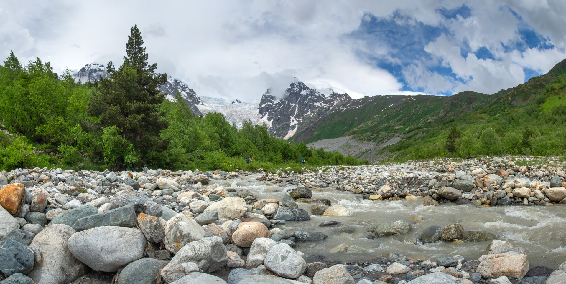 River flowing down from Mount Tetnuldi in Georgia
