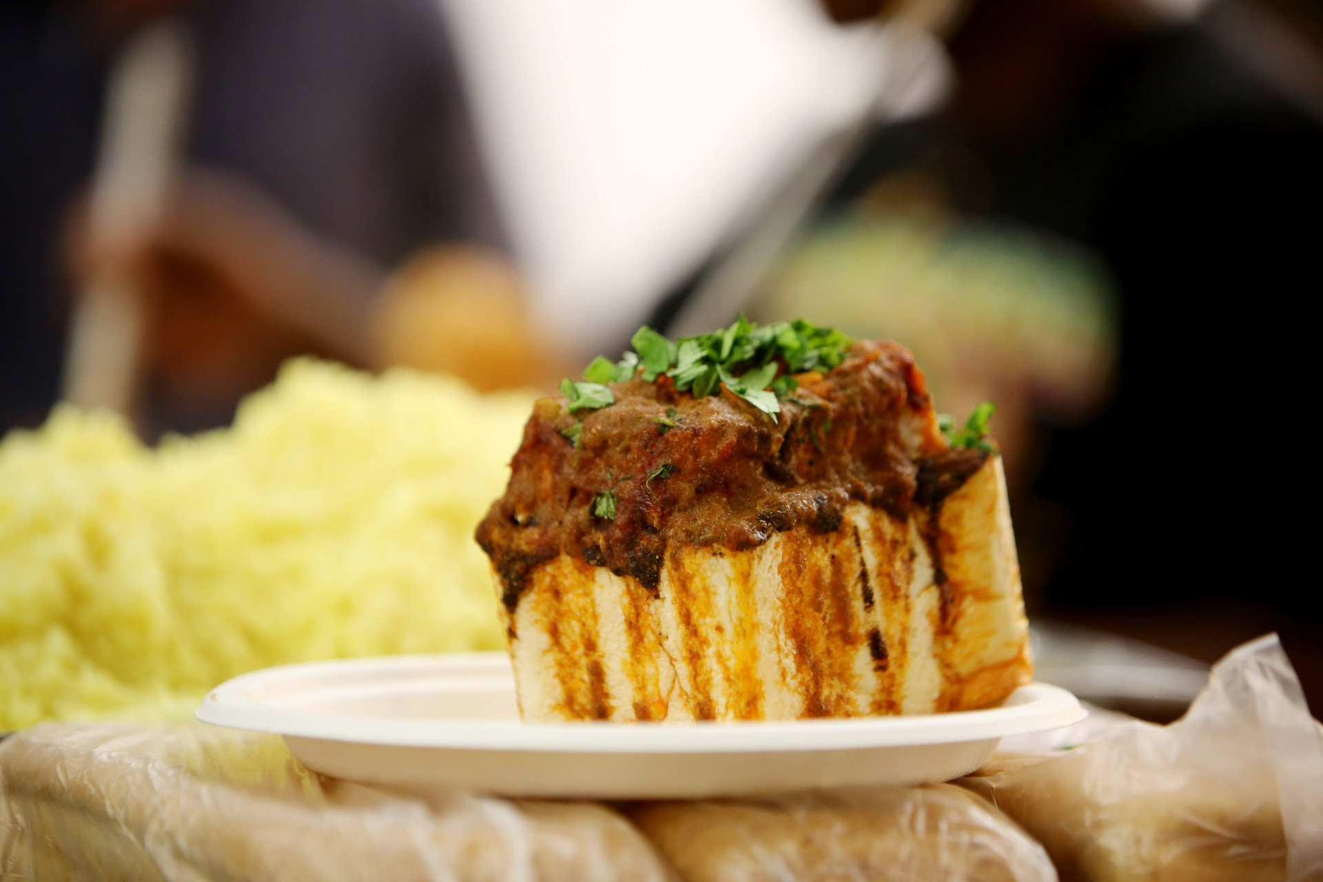 A bunny chow is a piece of hollowed out bread filled with curry