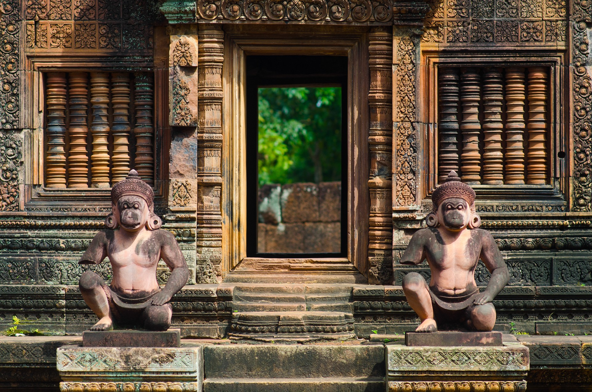 Bird guardians of Banteay Srei temple near Siem Reap, Cambodia