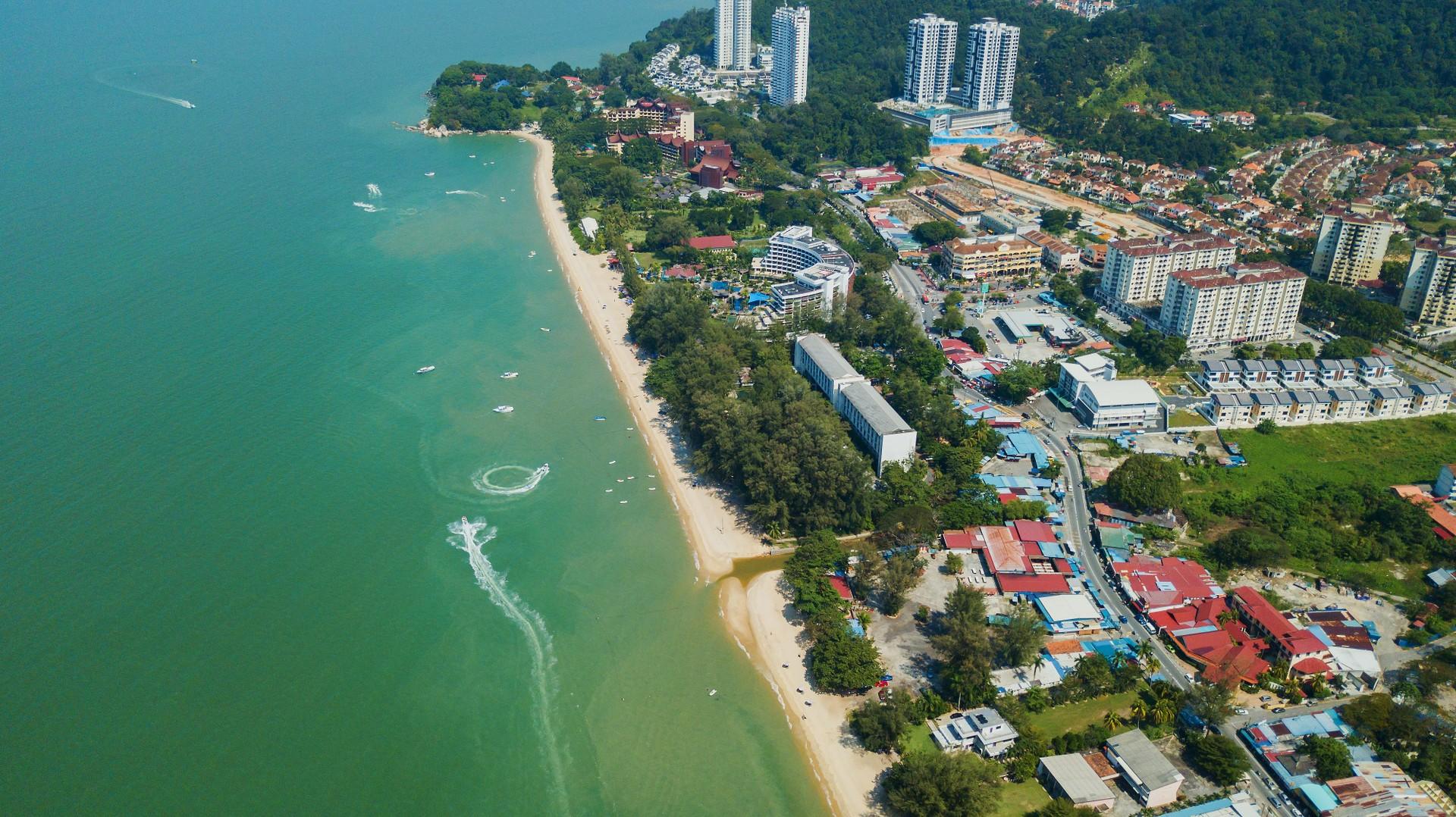 Aerial view of Batu Ferringhi Beach