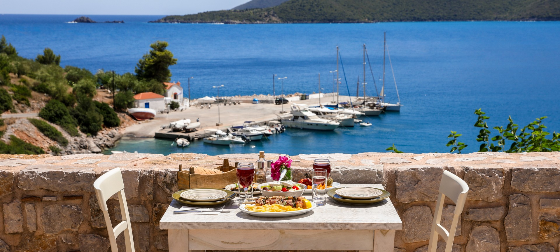 Table set for lunch greece