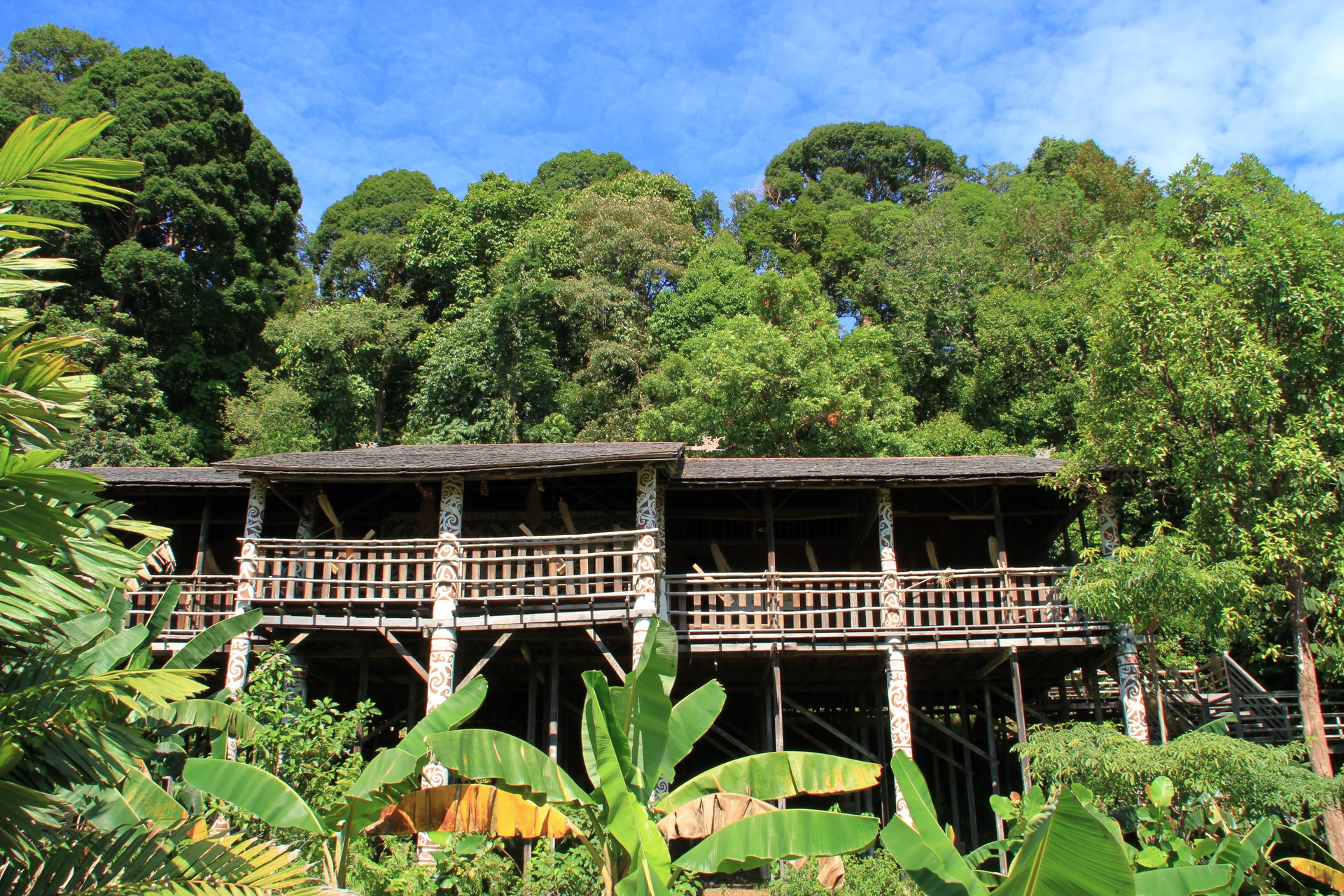 A traditional Iban longhouse in Borneo