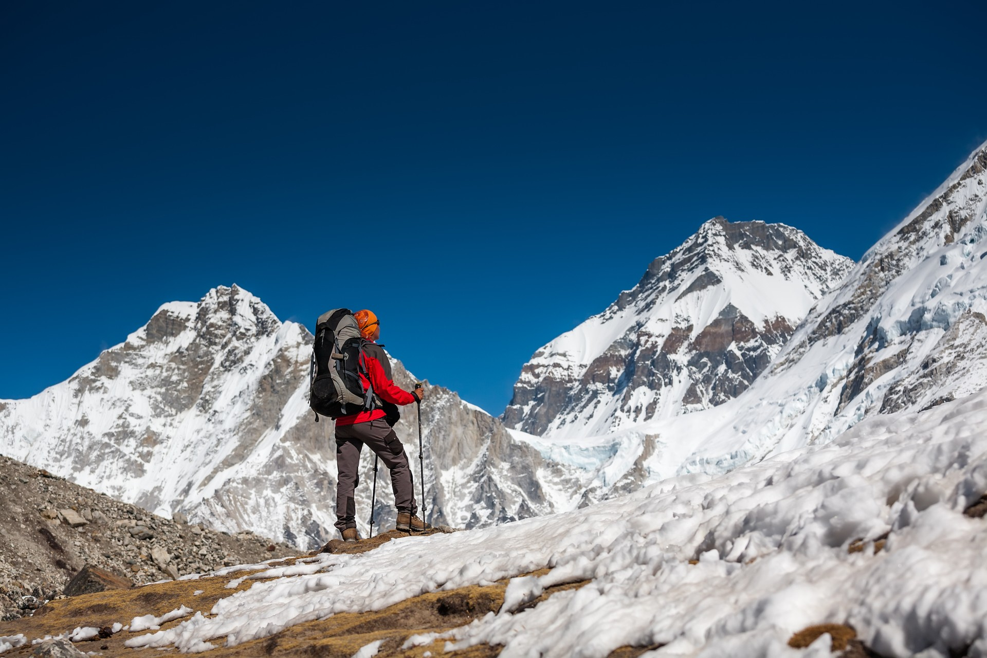 A hiker heading up to Everest Base Camp in Nepal