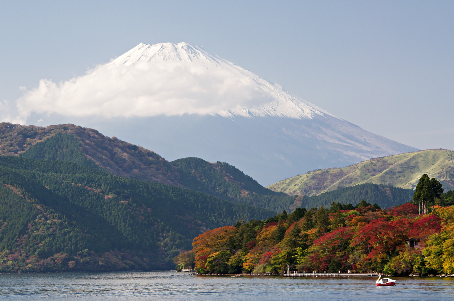View of Mount Fuji over lake