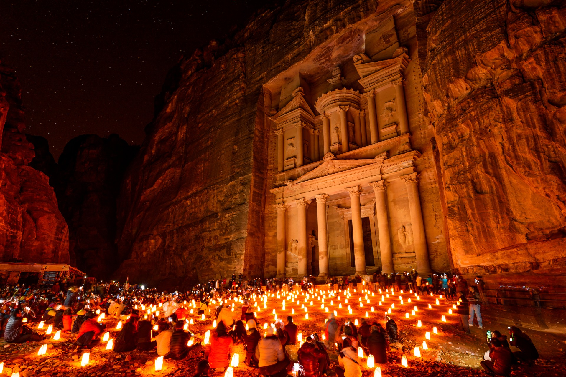 The treasury at Petra in lantern light