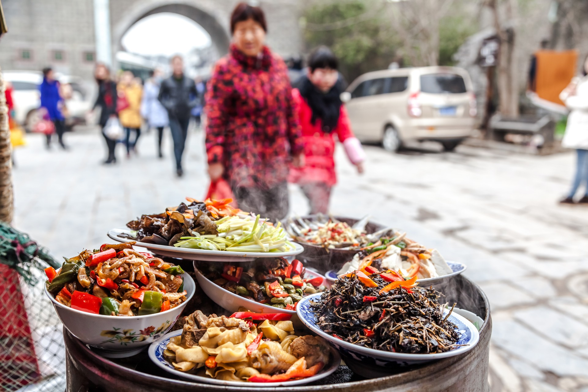 China food tours - dishes on display