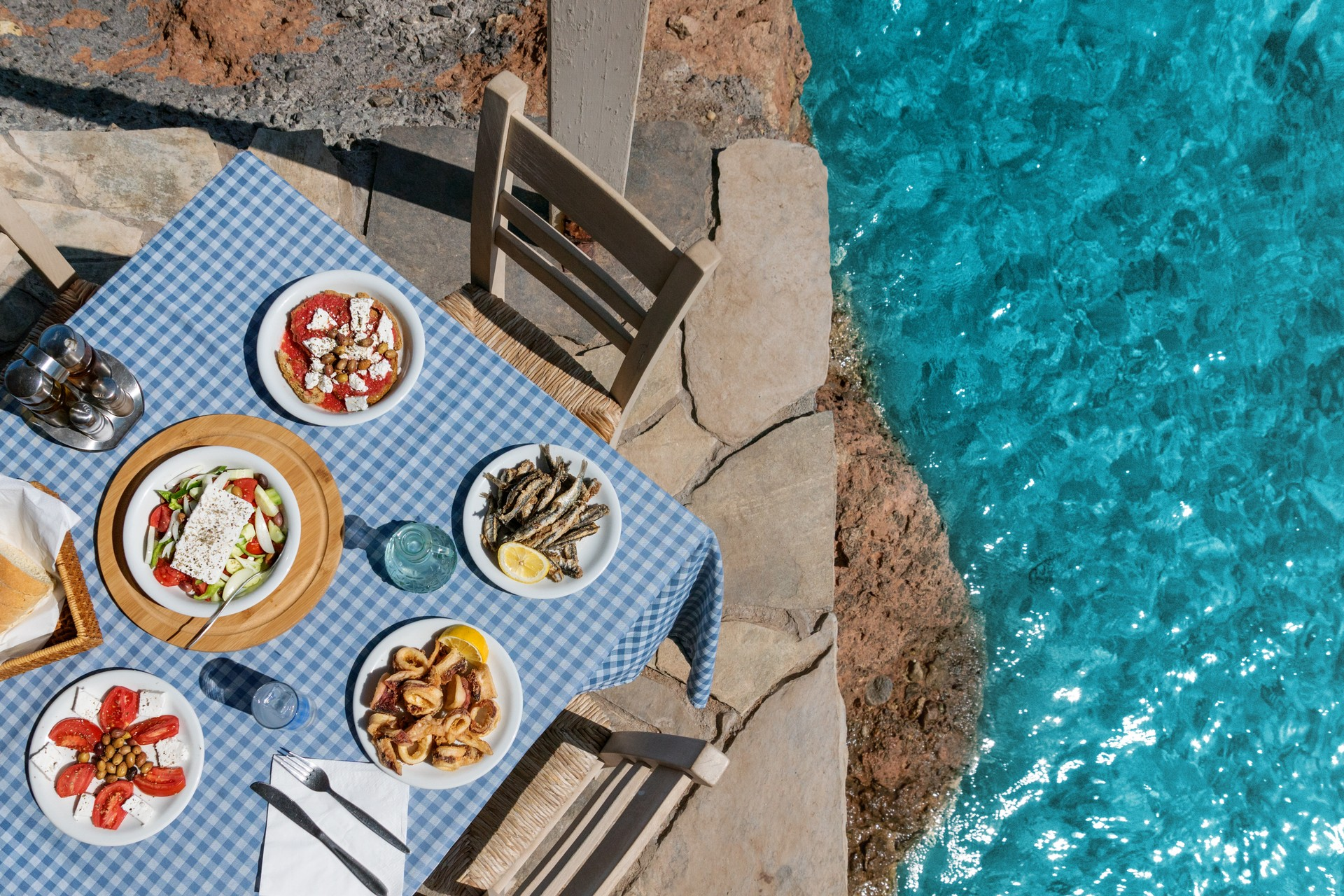 Table at a taverna with Greek mezze