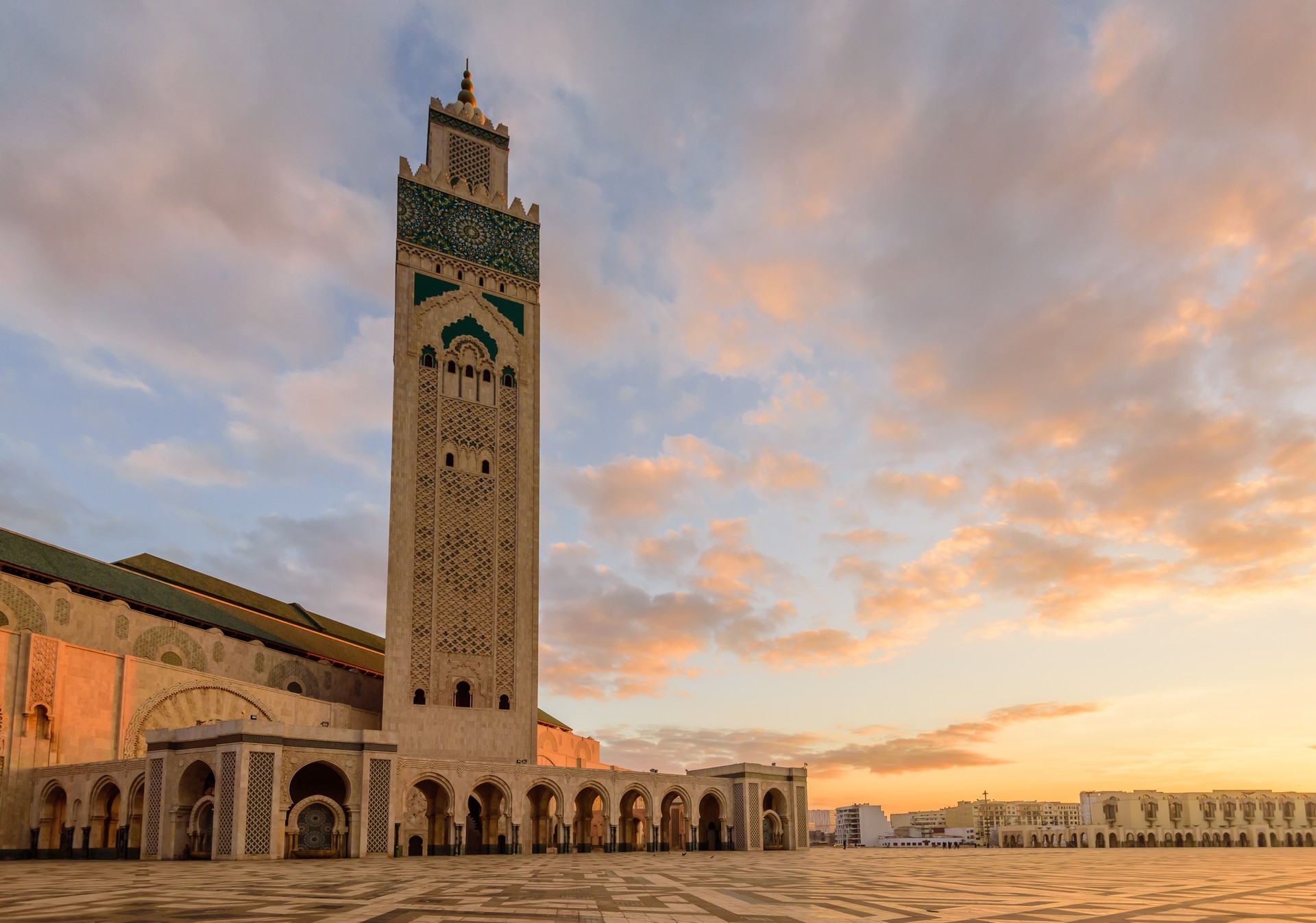 The exterior of the Hassan II Mosque in Casablanca - the largest mosque in Morocco