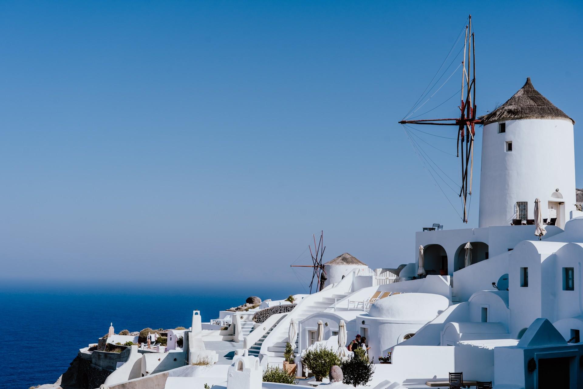 A windmill in Santorini, Greece