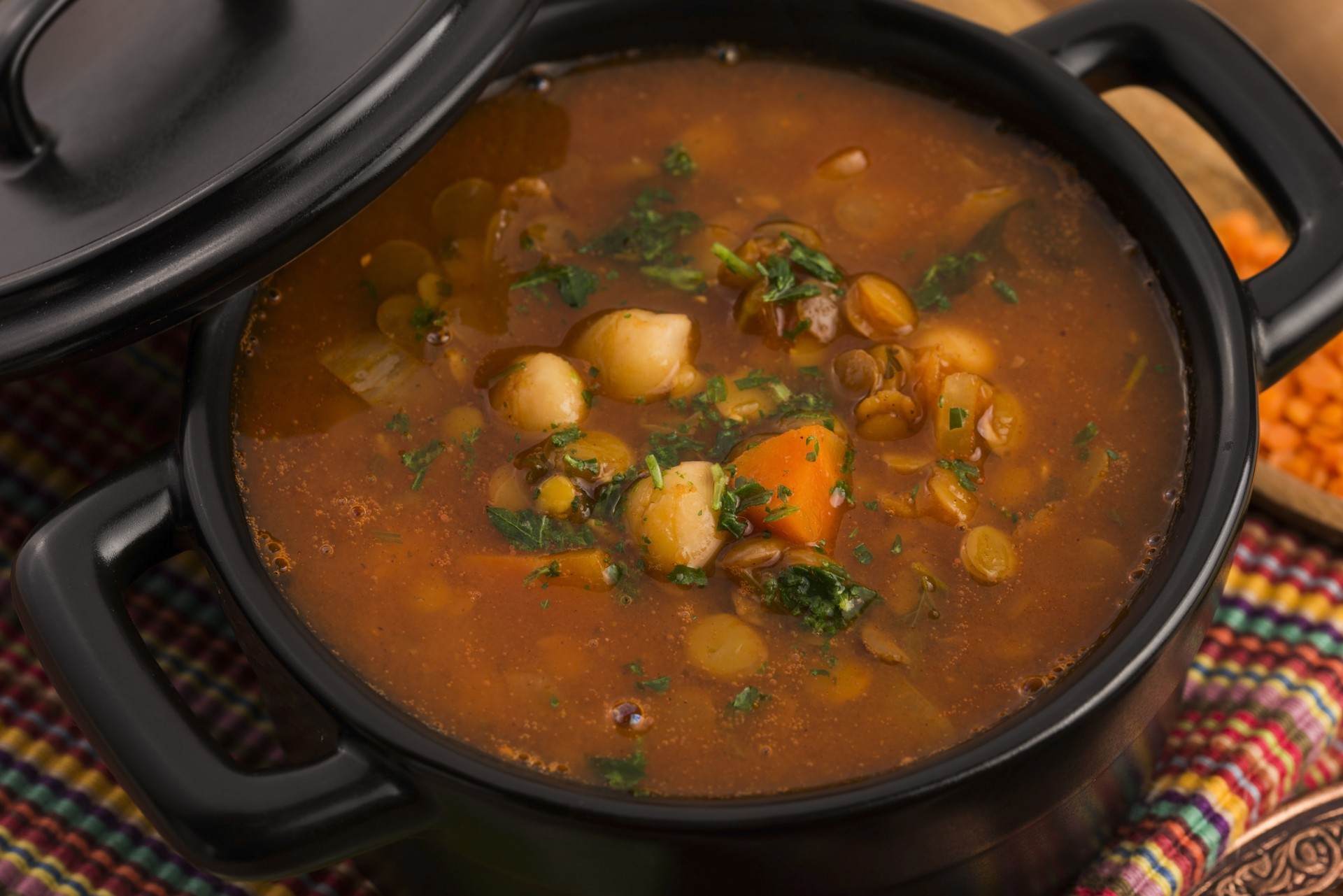 Harira is a traditional Moroccan soup made from meat, tomatoes and chickpeas