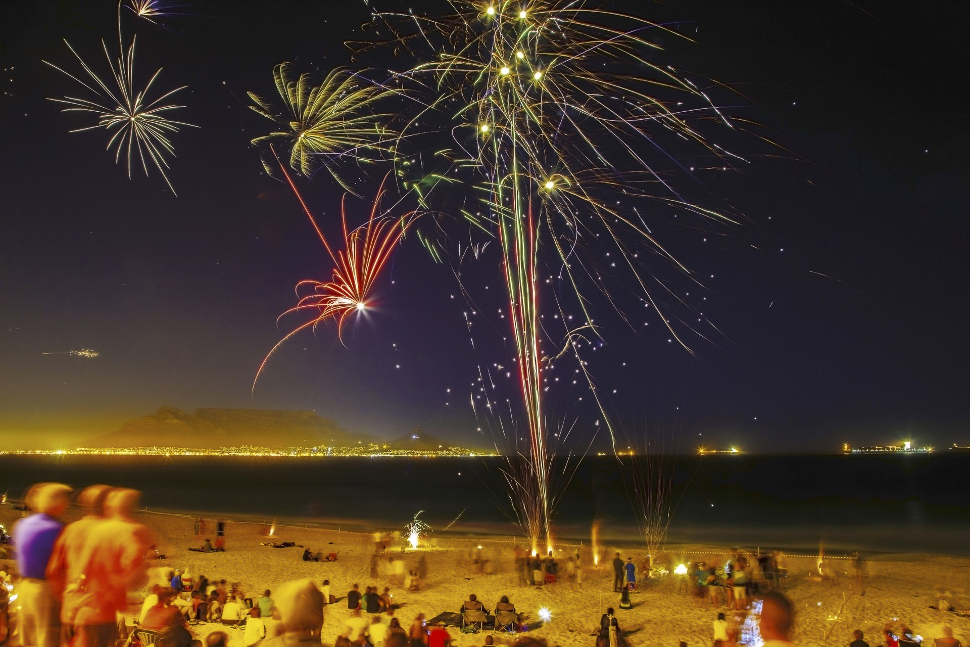New Year fireworks on a beach by Cape Town