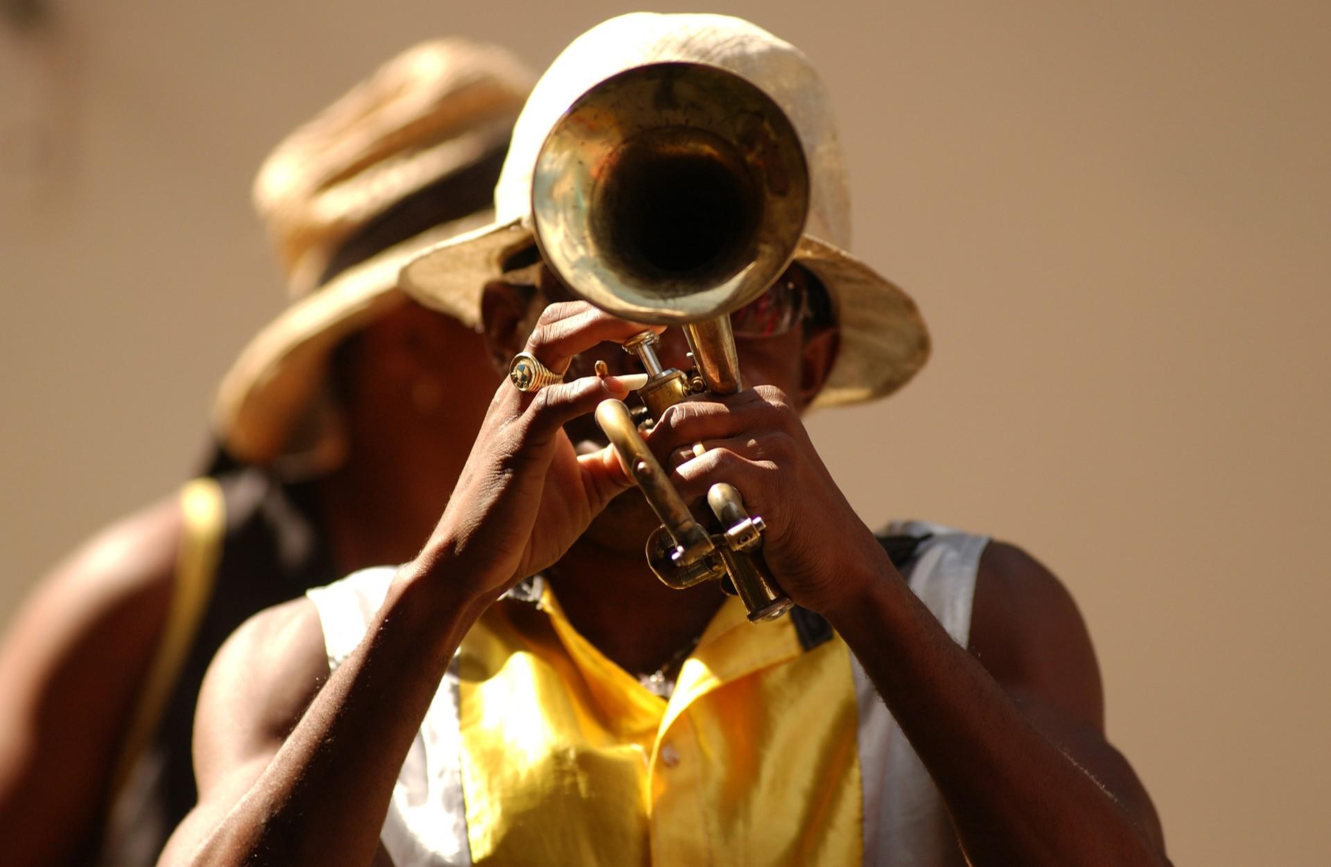 A jazz musician plays the trumpet in Havana, Cuba