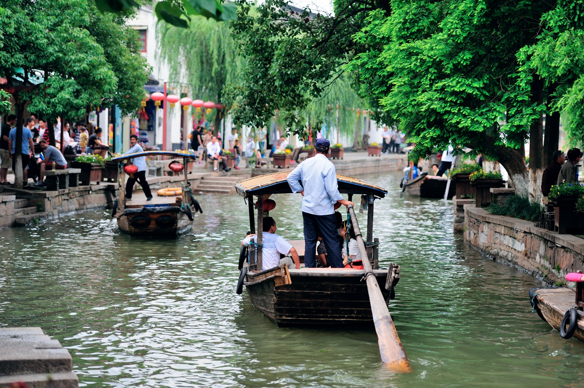 Boat on a canal in Zhujiajiao, China