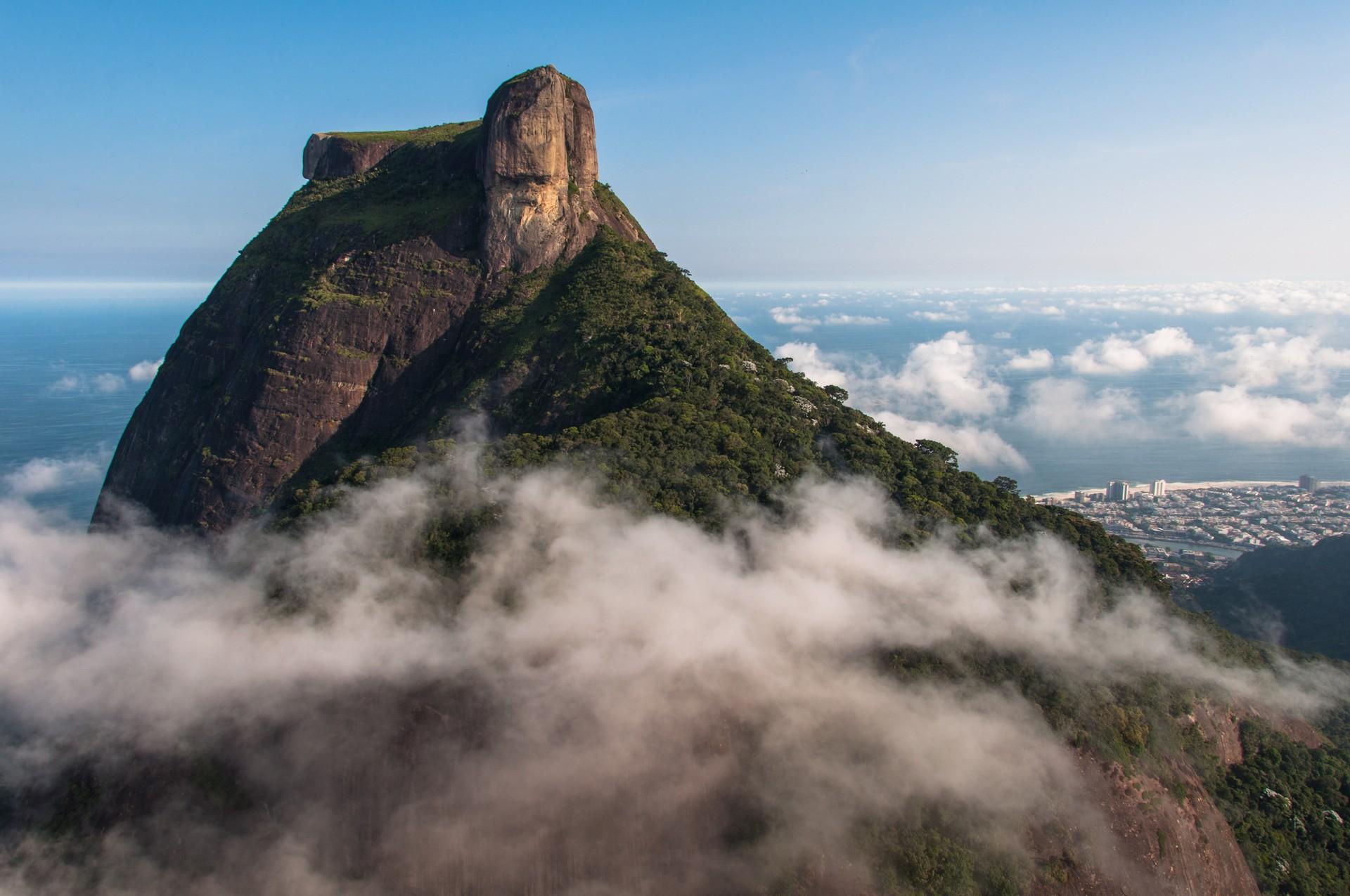 Pedra de Gavea amongst the clouds in Rio de Janeiro