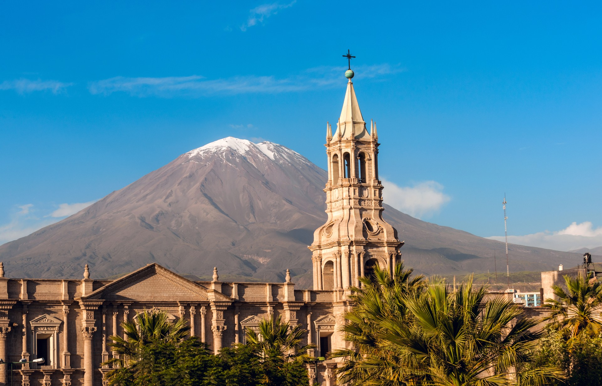 Arequipa with volcano in background