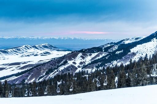 Ski lift and mountains in Bishkek region