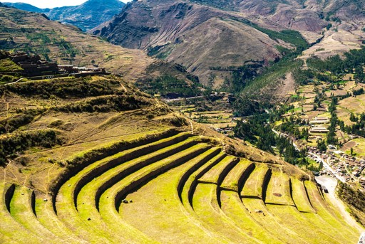 The sloping terraces of the Sacred Valley, Peru