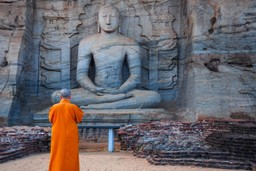 Monk prays at Polonnaruwa, Sri Lanka