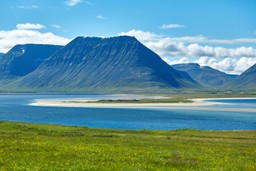 Fjord in north-west of Iceland in summer