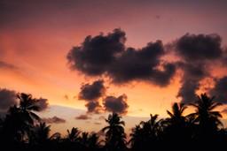 Sunset over Unawatuna beach