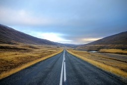 Endless road through the wilderness of Iceland