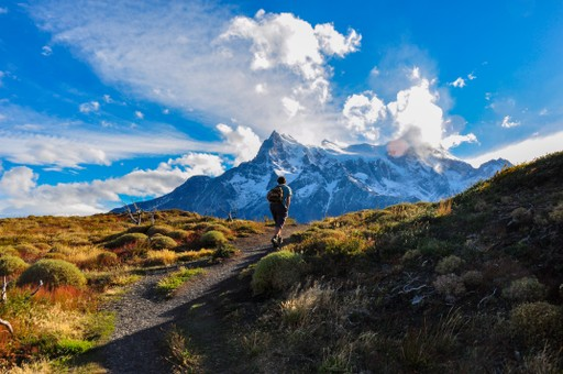 A man hiking in the Chilean Andes