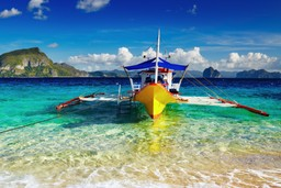 Traditional boat on Philippines beach