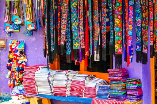 Colourful cloth market at Chichicastenango