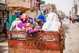Family in a cart in Saint-Louis, Senegal