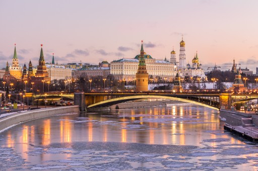 Kremlin Moscow Russia Winter frozen river