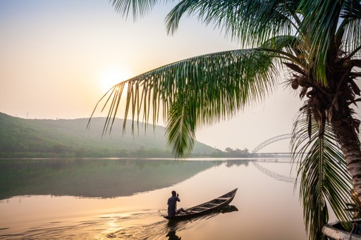Ghana lake local on traditional canoe